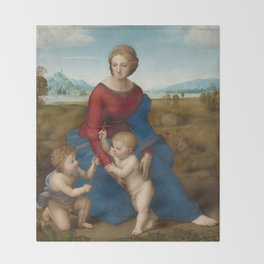 Madonna in the Meadow by Raphael Throw Blanket