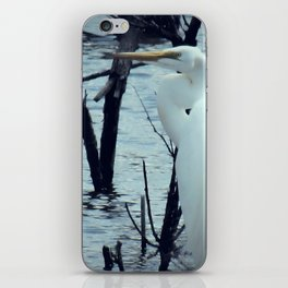 Great Egret White Bird Blue Water A107 iPhone Skin