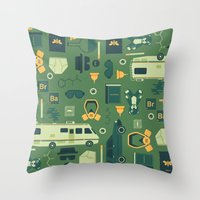 breaking Throw Pillows featuring Breaking Bad by Tracie Andrews