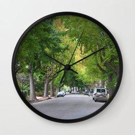 Old Tree Lined Neighborhood end of Summer Wall Clock