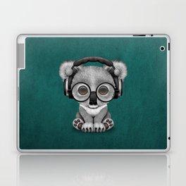 Cute Baby Koala Bear Dj Wearing Headphones on Blue Laptop & iPad Skin
