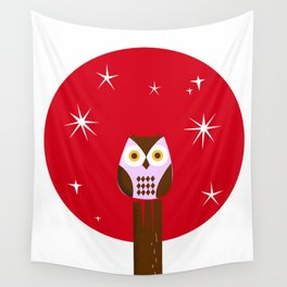 Owl ( alternative red version) Wall Tapestry