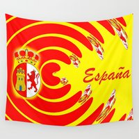 spanish Wall Tapestries featuring Spanish Flag by Created by Eleni