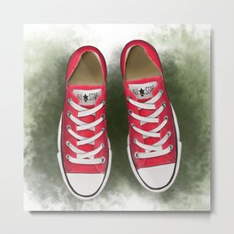 red converse//for young soul//red sneakers on the grass//digital print//for youth//baseball Metal Print