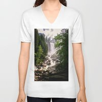 yosemite V-neck T-shirts featuring Yosemite Waterfall by Loaded Light Photography