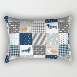 Corgi Patchwork Print - navy, dog, buffalo plaid, plaid, mens corgi dog Rectangular Pillow