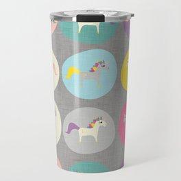Cute Unicorn polka dots grey pastel colors and linen texture #homedecor #apparel #stationary #kids Travel Mug