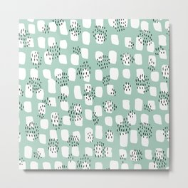 Spotted series abstract dashes and dots mint black and white raw paint texture Metal Print