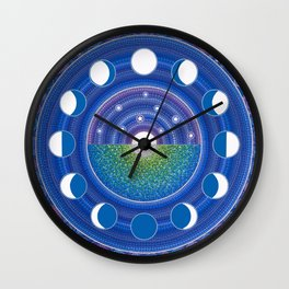 Moon Phase Mandala Wall Clock