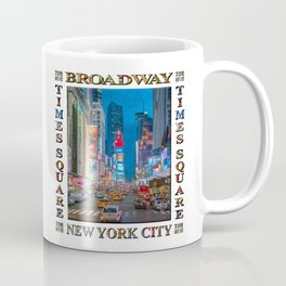 Times Square & Broadway (poster on white) Coffee Mug