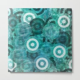 Grungy Blue Circles Metal Print