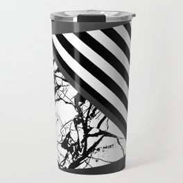 Stripes N Marble 3 - Abstract Black and white stripes and marble textured triangles on metallic Travel Mug