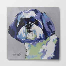 Shih Tzu Pop Art Pet Portrait Metal Print