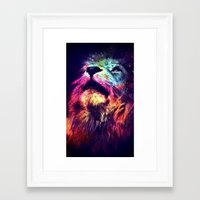hipster lion Framed Art Prints featuring Galaxy Lion - Space Lion - Hipster Lion by Kris James