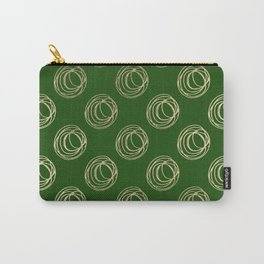 Forest green faux gold abstract geometrical swirls Carry-All Pouch