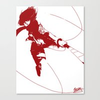 mikasa Canvas Prints featuring Mikasa Ackerman by Schewy