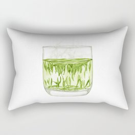 Watercolor Illustration of A glass of Chinese Maojian green tea Rectangular Pillow