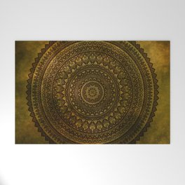 Lime Brown Mandala Welcome Mat