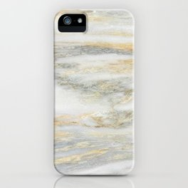 White Gold Marble Texture iPhone Case