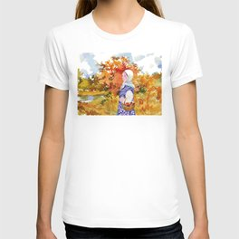 Heading to the Forest for Mushroom-Picking. Autumn Landscape. Girl's Portrait T-shirt