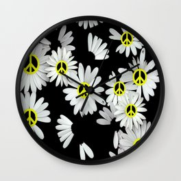 Simple Hippie Daisies Wall Clock