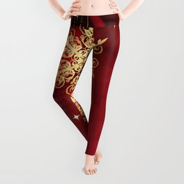 Pretty Christmas Ornaments Red Gold Holiday Decor Leggings