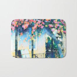 Old Porch of Pink and Teal by CheyAnne Sexton Bath Mat