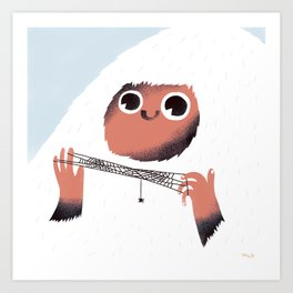 Yeti and spider. Art Print