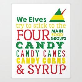 Elves food Groups - Elf the movie Art Print