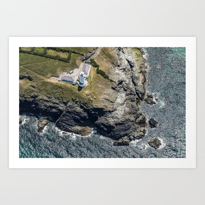 Aerial views over Trevose Lighthouse, Cornwall Art Print