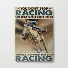 Horse Barrel Racing Get Old Metal Print