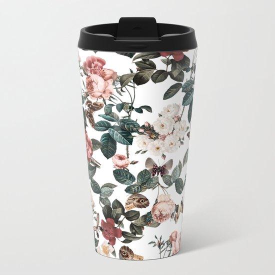 Floral and Butterflies II Metal Travel Mug