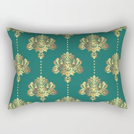 Gold damask flowers and pearls on teal background Rectangular Pillow