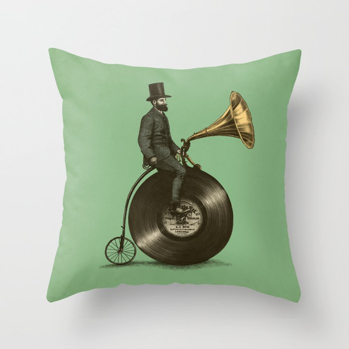 Music Man (Green Option) Throw Pillow