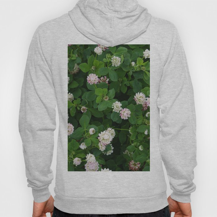 Clover flowers green and white floral field Hoody