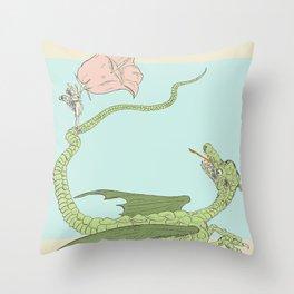Defeating the Dragon Throw Pillow