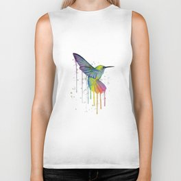 Hummingbird Watercolor Biker Tank