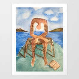 spin-off art: melancholie sculpture with a dropped open book and sea view Art Print