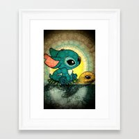 stitch Framed Art Prints featuring Stitch by NORI