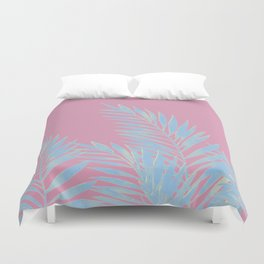 Palm Leaves Blue And Pink Duvet Cover