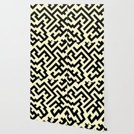Black and Cream Yellow Diagonal Labyrinth Wallpaper