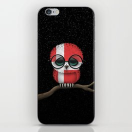 Baby Owl with Glasses and Danish Flag iPhone Skin