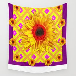 Glorious Yellow-red Sunflower Purple-yellow Patterns Wall Tapestry