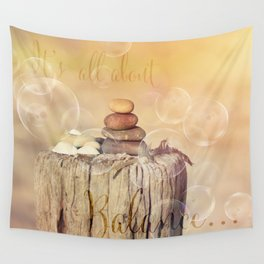 Balance Stone Cairn Sunset  Bubbles Light Wall Tapestry