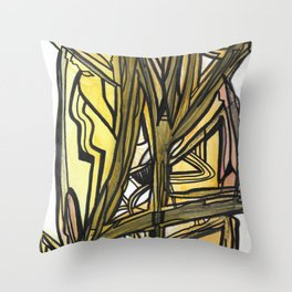 Slingshot Abstract Line Art Painting Throw Pillow