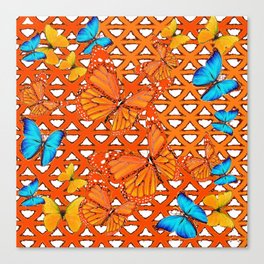 YELLOW BLUE ORANGE BUTTERFLY ABSTRACT WORLD Canvas Print