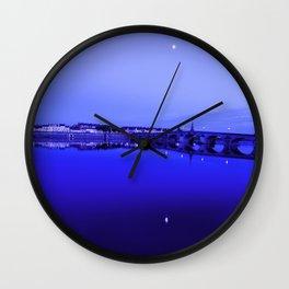 France landscape, Amboise, Loire valley, dusk, reflection, river, blue Wall Clock