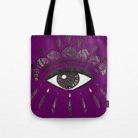 kenzo Tote Bags featuring Kenzo eye in purple by cvrcak