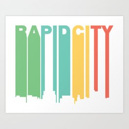 Retro 1970's Style Rapid City South Dakota Skyline Art Print