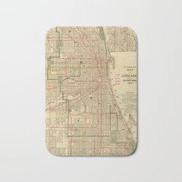 Vintage Map of The Chicago Railroads (1906) Bath Mat